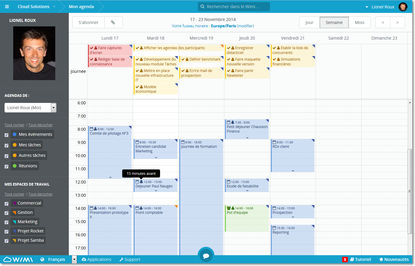 Overview of a shared calendar in Wimi (at the top, shared tasks)