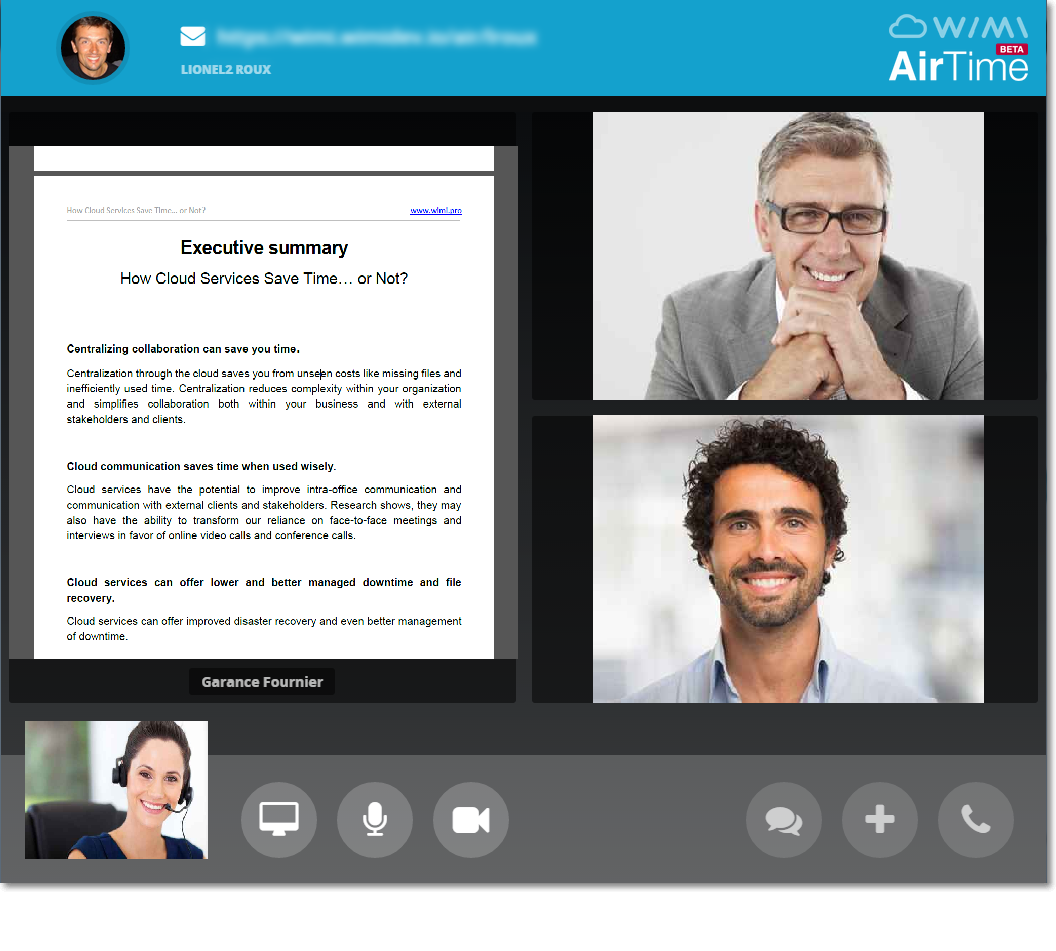 "Overview of ""AirTime"" feature (videoconferencing directly in the web browser with WebRTC technology)."